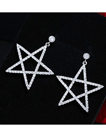 Trendy Silver Color Diamond Decorated Star Shape Pure Color Earrings