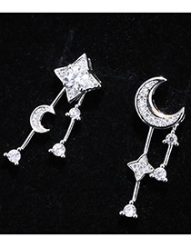 Trendy Silver Color Moon&star Shape Decorated Asymmetry Desgin Pure Color Earrings
