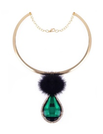 Vintage Green Oval &fuzzy Ball Decorated Simple Short Chain Necklace