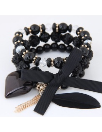 Trendy Black Tassel&bowknot Decorated Multi-layer Simple Bracelet