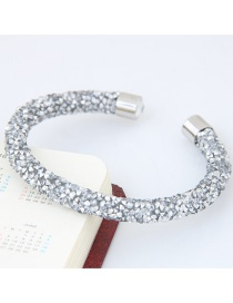 Trendy White Pure Color Decorated Simple Opening Bracelet