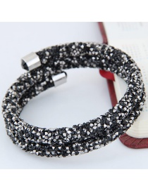 Trendy Black Color Matching Decorated Double Layer Opening Bracelet