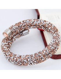 Trendy Champagne Color Matching Decorated Double Layer Opening Bracelet