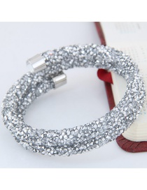 Trendy White Pure Color Decorated Double Layer Opening Bracelet