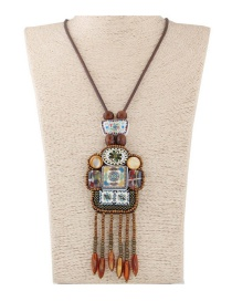 Fashion Coffee Beads Decorated Tassel Design Color Matching Sweater Chain
