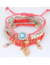 Trendy Red Palm&eys Pendant Decorated Color Matching Multi-layer Bracelet