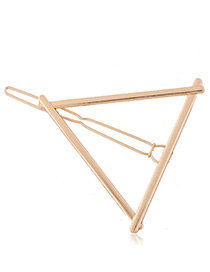 Trendy Gold Color Triangle Shape Decorated Pure Color Simple Hair Clip