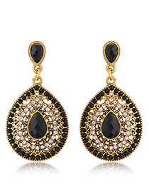 Trendy Black Diamond Decorated Hollow Out Design Pure Color Earrings