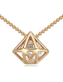 Elegant Gold Color Hollow Out Diamond Shape Pendant Decorated Simple Long Chain Necklace