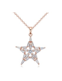 Elegant Gold Color Round Shape Diamond Decorated Simple Star Pendant Long Chain Necklace