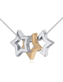 Fashion Gold Color+silver Color Hollow Out Star Pendant Decorated Simple Long Chain Necklace