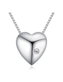 Fashion Silver Color Round Shape Decorated Simple Heart Design Long Chain Necklace
