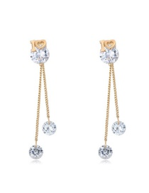 Elegant Gold Color Love U Design Round Shape Decorated Simple Long Chain Earrings