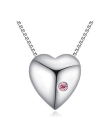 Fashion Pink Round Shape Decorated Simple Heart Design Long Chain Necklace