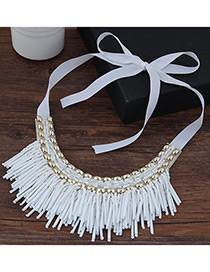 Vintage White Tassel Decoreated Simple Short Chain Collar Necklace