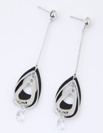 Sweet Black Geometric Shape Decorated Color Matching Earrings