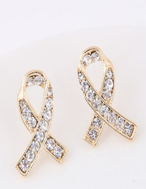 Sweet Gold Color Diamond Decorated Cross Design Earrings