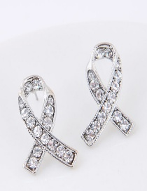 Sweet Silver Color Diamond Decorated Cross Design Earrings