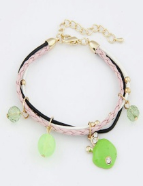 Sweet Green Apple Pendant Decorated Multi-layer Bracelet