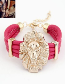 Sweet Plum Red Lion Head Decorated Multi-layer Bracelet