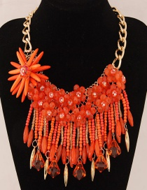 Fashion Orange Flower Decorated Color Matching Necklace