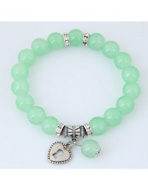 Fashion Green Heart Shape Decorated Pure Color Bracelet