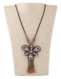 Fashion Coffee Water Drop Shape Decorated Simple Long Necklace