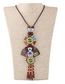 Fashion Coffee Sector Shape Decorated Color Matching Long Necklace