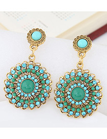 Fashion Green Round Shape Diamond Decorated Hollow Out Earrings