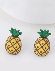 Sweet Yellow Pineapple Shape Decorated Simple Earrings