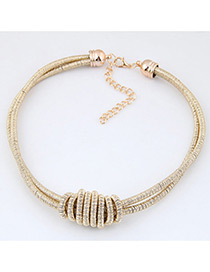 Fashion Gold Color Pure Color Decorated Double Layer Necklace