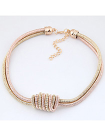 Fashion Gold Color+rose Gold Pure Color Decorated Double Layer Necklace