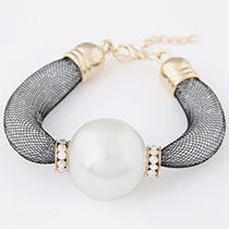 Fashion White Pearls&diamond Decorated Pure Color Bracelet