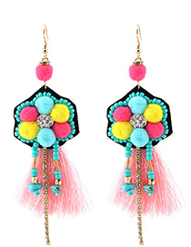 Trendy Pink Tassel Decorated Color Matching Pom Earrings