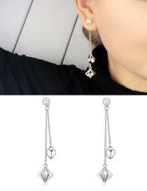 Fashion Silver Color Diamond Pendant Decorated Earrings