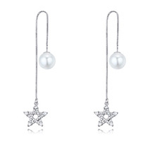 Fashion Silver Color Hollow Out Star Decorated Earrings