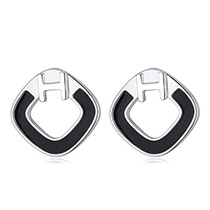 Fashion Black Letter H Decorated Square Shape Earrings