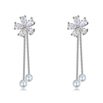 Fashion Silver Color Flower Decorated Long Chain Earrings