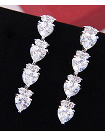 Elegant Zircon Heart Shape Diamond Decorated Earrings