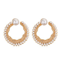Elegant Pearl Round Shape Decorated Earrings