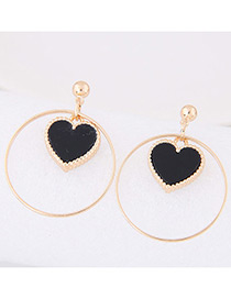 Lovely Black Heart Shape Decorated Round Earrings