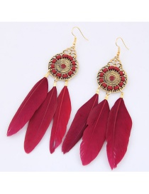 Trendy Red Feather Decorated Pure Color Earrings