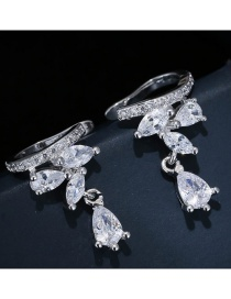 Sweet Silver Color Water Drop Shape Diamond Decorated Simple Earrings