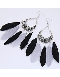 Trendy Black+gray Feather Pendant Decorated Simple Earrings