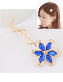 Sweet Sapphire Blue Flower Decorated Hollow Out Design Hairpin