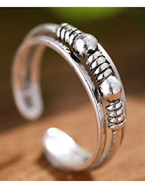 Fashion Antique Silver Round Balls Shape Decorated Pure Color Opening Ring