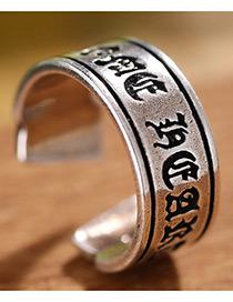 Fashion Antique Silver Letter Shape Decorated Pure Color Ring