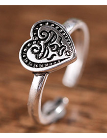 Fashion Antique Silver Heart Shape Decorated Pure Color Opening Ring