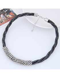 Fashion Black Diamond Decorated Weave Pure Color Necklace