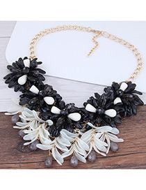 Fashion Black Flower Shape Decorated Color Matching Necklace